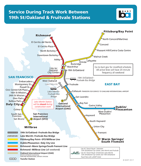 No trains will run between Lake Merritt and Fruitvale stations during select weekends between April and July while crews complete necessary track repair work. (Image courtesy BART.)