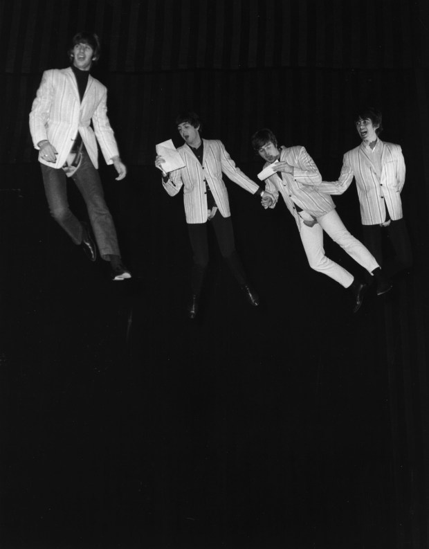 22nd July 1964: The Beatles suspended on wires during a rehearsal of their flying scene for the 'Night Of 100 Stars' charity show at the London Palladium. (Photo by Kent Gavin/Keystone/Getty Images)