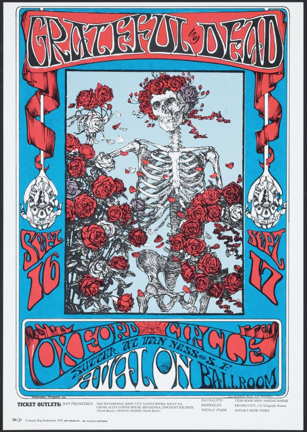 "Stanley Mouse and Alton Kelley's ""Skeleton and Roses"" poster for GratefulDead, Oxford Circle, Sept. 16-17, at Avalon Ballroom,"" 1966. (Fine Arts Museums of San Francisco)"