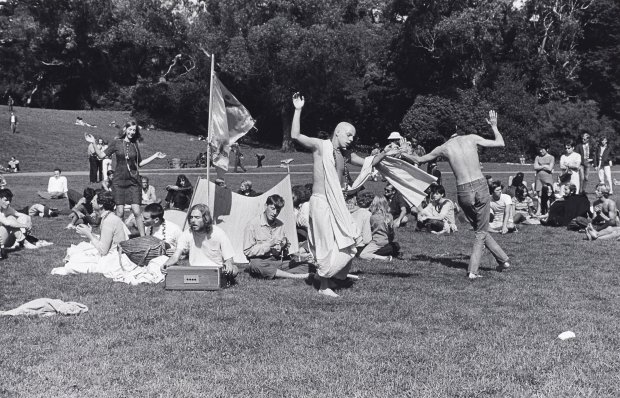 "Ruth-Marion Baruch's ""Hare Krishna Dance in Golden Gate Park, HaightAshbury,"" 1967. (Fine Arts Museums of San Francisco.)"