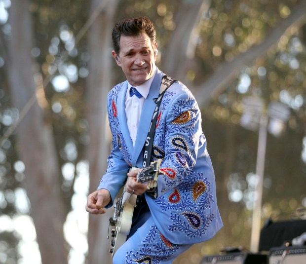 Chris Isaak performs at the Hardly Strictly Bluegrass festival at Golden Gate Park in San Francisco, Calif., Oct. 4, 2014. Warren Hellman, billionaire financier, philanthropist and banjo player founded and funded the free music festival since its beginning in 2001. Hellman died from complications of leukemia in December 2011 at the age of 77. The annual three-day festival continues on due to endowment that Hellman created. (Anda Chu/Bay Area News Group)