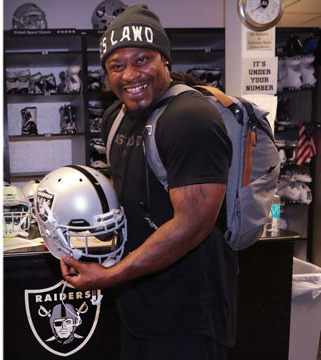 Marshawn Lynch is excited to join his hometown Oakland Raiders. Lynch agreed to a deal with Oakland after being acquired from Seattle. (Courtesy of Oakland Raiders)