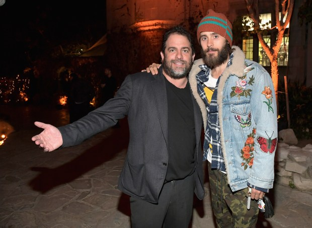 """LOS ANGELES, CA - APRIL 04: Producer Brett Ratner and actor Jared Leto attend Amazon Original Series """"American Playboy: The Hugh Hefner Story"""" premiere event at The Playboy Mansion on April 4, 2017 in Los Angeles, California. (Photo by Charley Gallay/Getty Images for Amazon)"""