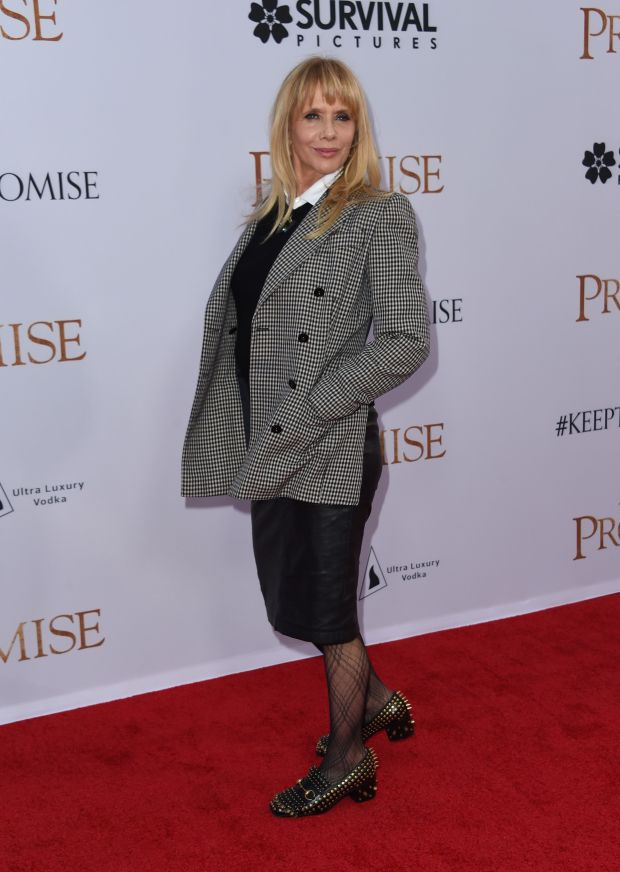 Rosanna Arquette attends the premiere of 'The Promise' at the Chinese theatre in Hollywood, on April 12, 2017. / AFP PHOTO / CHRIS DELMASCHRIS DELMAS/AFP/Getty Images