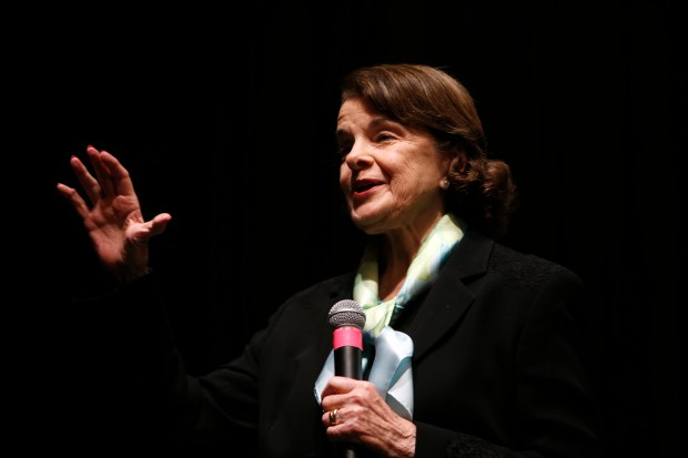 Senator Dianne Feinstein holds a town meeting at the Scottish Rite Masonic Center, Monday, April 17, 2017, in San Francisco, Calif. (Karl Mondon/Bay Area News Group)