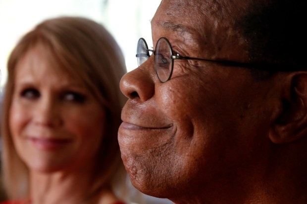 With his wife Rhonda by his side, Rod Carew smiles Tuesday, April 11, 2017, at their home in Coto de Caza, Calif., as he talks about the gift heart donor Konrad Reuland gave to him and his family. Carew received Reuland's heart in a transplant late last year. (Karl Mondon/Bay Area News Group)