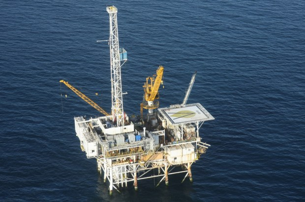"""Courtesy Venoco Oil Company — Pictured is the Platform """"Holly"""" offshore oil drilling platform, off the Santa Barbara, Calif. coast."""