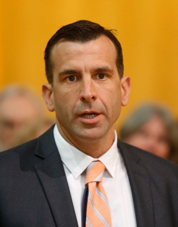 """Mayor Sam Liccardo speaks during a press conference with public officials and faith leaders with the grassroots organization PACT at City Hall in San Jose, Calif., Friday, April 6, 2017. PACT will launch a county-wide """"solidarity network"""" aimed at protecting and defending """"immigrants who are living in fear under the threat of deportation."""" (Patrick Tehan/Bay Area News Group)"""