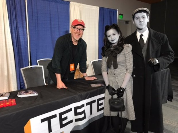 Adam Savage, left, with Jamie Ducato and Caleb Levine at Silicon ValleyComic Con in downtown San Jose on Sunday, April 23, 2017. (Photo courtesy Erik Levine)