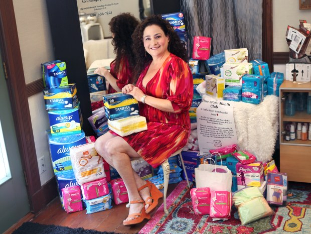 Photograph by George SakkestadSkin Maven owner Deborah Berry hopes to collect 500 boxes of feminine hygiene products during an April 27 fundraiser in the courtyard she shares with Dolce Spazio at 216 N. Santa Cruz Ave. Products donated during the so-called 'Time of the Month Project' will be given to homeless women served by the Bill Wilson Center and Next Door Solutions to Domestic Violence. The fundraiser runs from 5-8