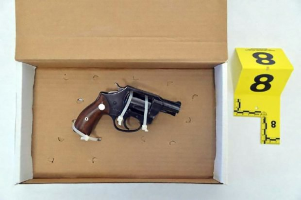 Photograph courtesy of the Santa Clara County Sheriff's Office.Pictured is the .38 caliber revolver that 86-year-old Navy veteran Eugene Craig held up when Santa Clara County Sheriffs broke down his door before shooting and killing Craig where he stood in his home in front of his wife. The widow has since filed a wrongful death lawsuit against the county and sergeant.