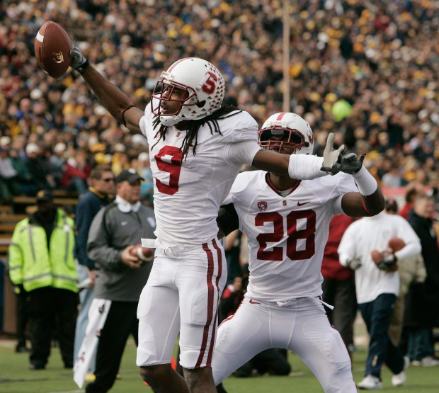 Stanford's Richard Sherman talks up the crowd after making an interception in the first quarter at Memorial Stadium in Berkeley, Calif. on Saturday, November 20, 2010. The Stanford Cardinal played the Cal Bears. (Jim Gensheimer/Mercury News)