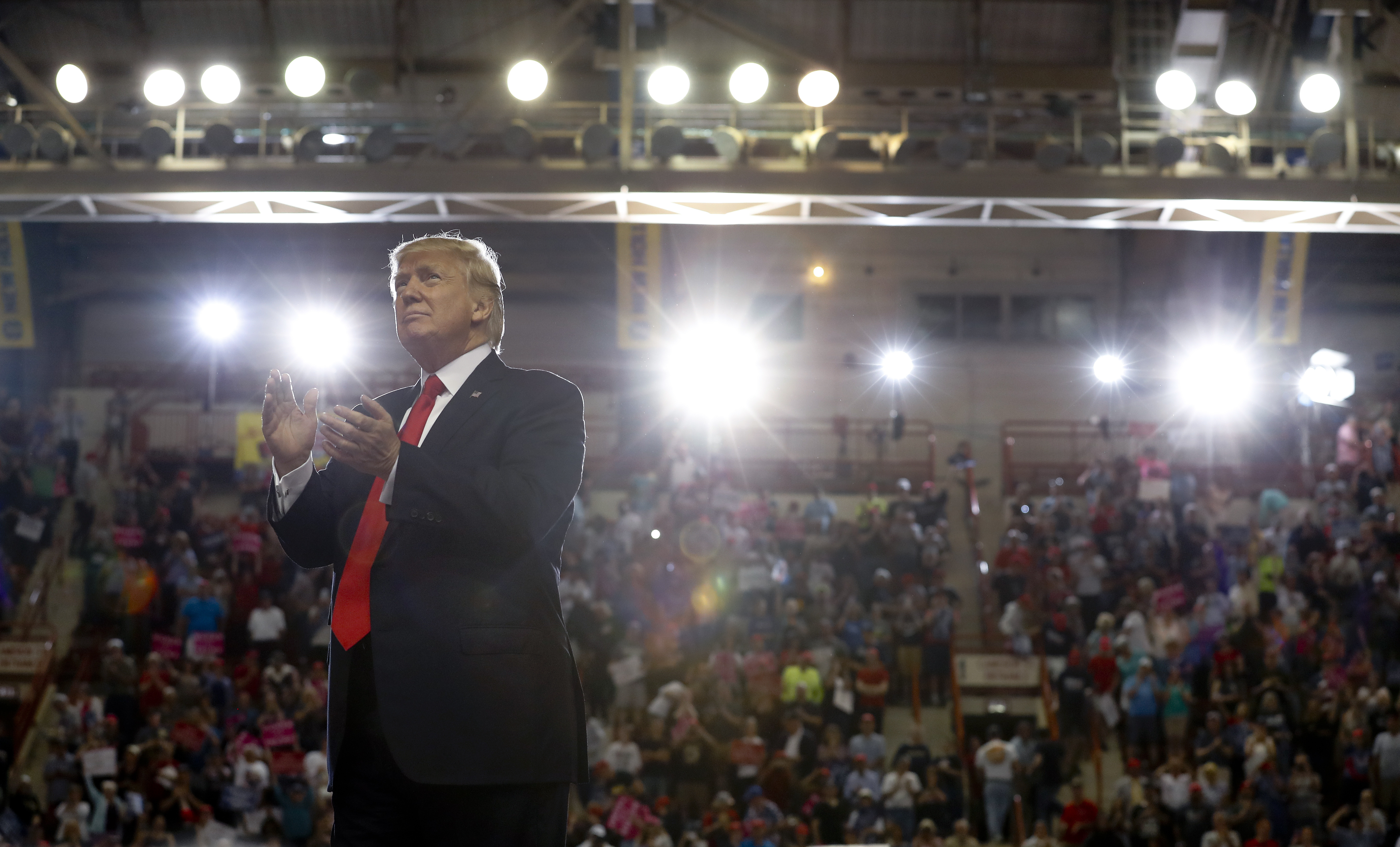 President Donald Trump turns to the audience behind him as he finishes speaking at the Pennsylvania Farm Show Complex and Expo Center in Harrisburg, Pa., Saturday, April, 29, 2017. (AP Photo/Carolyn Kaster)