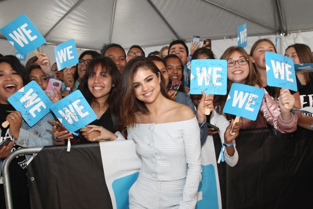 INGLEWOOD, CA - APRIL 27: Host of WE Day California, actress/singer and UNICEF Goodwill Ambassador Selena Gomez attends WE Day California to celebrate young people changing the world at The Forum on April 27, 2017 in Inglewood, California. (Photo by Tommaso Boddi/Getty Images for WE)