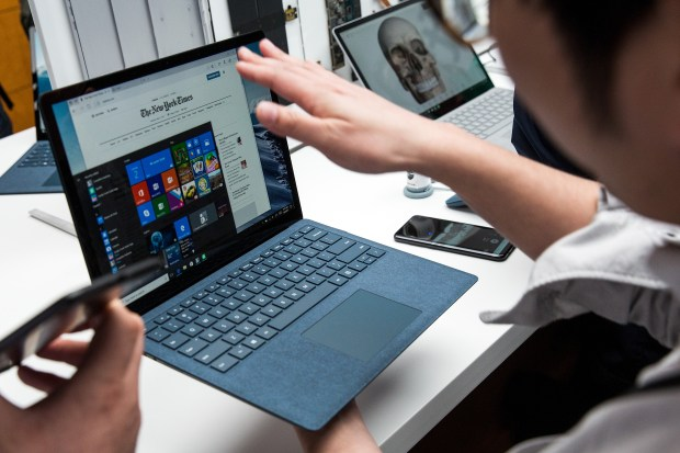 A view of the new Microsoft Surface Laptop following a Microsoft launch event, May 2, 2017 in New York City. The Windows 10 S operating system is geared toward the education market and is Microsoft's answer to Google's Chrome OS. (Photo by Drew Angerer/Getty Images)