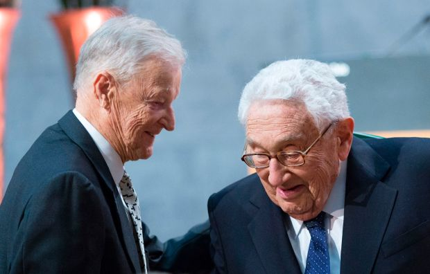 December 11, 2016: Former US National Security Advisors Zbigniew Brzezinski and Henry Kissinger at the Nobel Peace Prize Forum in Oslo, Norway. (AFP Getty)