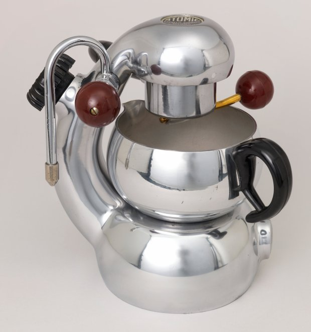 """The 1950s Atomic Espresso maker for Brevetti Robbiati, by an anonymousItalian designer, is on view in """"Creativity on the Line at the Cantor Arts Center. (Cooper Hewitt, Smithsonian Design Museum)"""