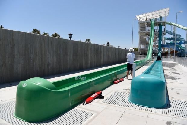 The Emerald Plunge water slide is closed after a child was thrown out of the slide during the opening day of The Wave water park in Dublin, Calif., on Saturday, May 27, 2017. The child landed on the concrete next to the slide and was taken to the office by park personnel. (Jose Carlos Fajardo/Bay Area News Group)