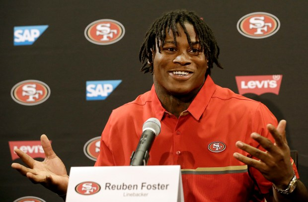 San Francisco 49ers draft pick Reuben Foster answers questions at a news conference in Santa Clara, Calif., Friday, April 28, 2017. (AP Photo/Jeff Chiu)