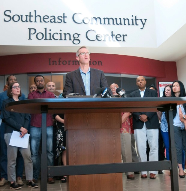 """FILE- In this Saturday, May 27, 2017, file photo, Portland Mayor Ted Wheeler speak at a news conference after a man fatally stabbed two men Friday on a light-rail train when they tried to stop him from yelling anti-Muslim slurs at two young women, in Portland, Ore. Wheeler on Monday urged U.S. officials and organizers to cancel a """"Trump Free Speech Rally"""" and other similar events, saying they are inappropriate and could be dangerous after the fatal stabbing. (AP Photo/Gillian Flaccus, File)"""