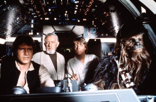 "Harrison Ford, left, as Han Solo, Alec Guinees as Ben Obi-Wan Kenobi, Mark Hamill as Luke Skywalker and Peter Mayhew as Chewbacca in the original ""Star Wars"" (1977). 20th Century Fox."