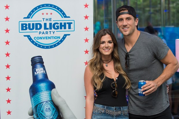 DALLAS, TX - AUGUST 11: JoJo Fletcher and Jordan Rodgers enjoy the Bud Light Party Convention in Dallas on August 11, 2016. Bud Light America's most popular and inclusive beer brand is taking the Bud Light Party on the road with 13-city Convention Tour from August 5-27. (Photo by Cooper Neill/Getty Images for Bud Light)
