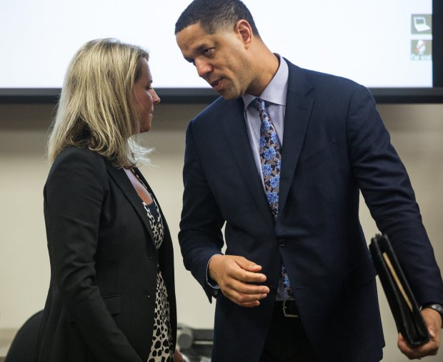 Lincoln Beauregard, right, confers with co-council Julie Kays after Beauregard was fined $5,000 by Superior Court Judge Veronica Alicea-Galvan during a pre-trial hearing on Thursday May 4, 2017 in Seattle. (Mike Siegel /The Seattle Times via AP)