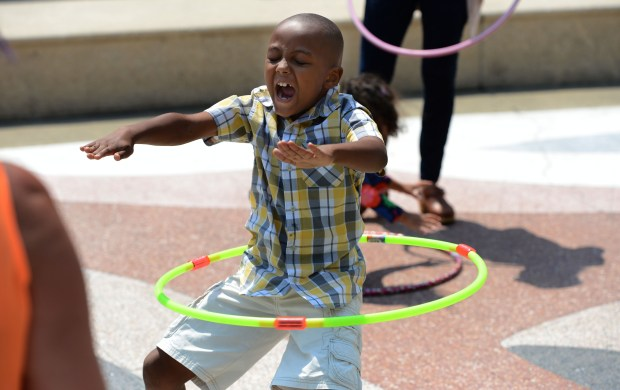 Josiah Kirkland, 7, of Oakland, shows off his hula hoop skills at the16th annual Art & Soul Festival in downtown Oakland, Calif., on Saturday, Aug. 20, 2016. The event featured lots of food, music, art and crafts and more for people of all ages. (Dan Honda/Bay Area News Group)