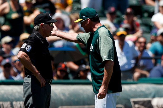 OAKLAND, CA - MAY 20: Bob Melvin #6 of the Oakland Athletics argues with umpire Mike Winters #33 after being ejected during the second inning against the Boston Red Sox at the Oakland Coliseum on May 20, 2017 in Oakland, California. (Photo by Jason O. Watson/Getty Images)