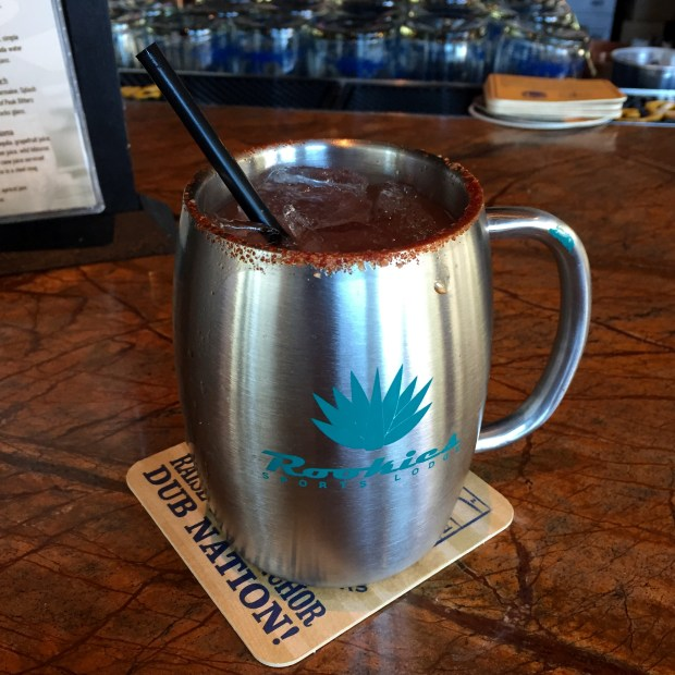The Paloma, served in a steel mug with a spicy salted rim, is one of the tap cocktails available at Rookies Sports Lodge's new downtown San Jose location.