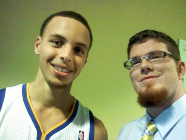 Stephen Curry poses for a selfie taken by close friend Chad Fair, who taught Curry's theater production class at Charlotte Christian School. Photo taken in February of 2011. (Courtesy Chad Fair)