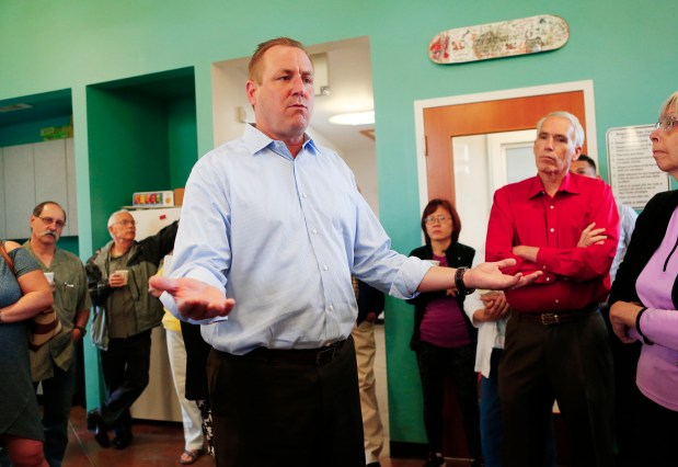 Rep. Jeff Denham, center, faces angry constituents during a meet-and-greet held in Riverbank, Calif., on Tuesday, May 9, 2017. Rep. Denham recently voted for the American Health Care Act after telling members of his district that he would vote against the bill. (Gary Reyes/ Bay Area News Group)