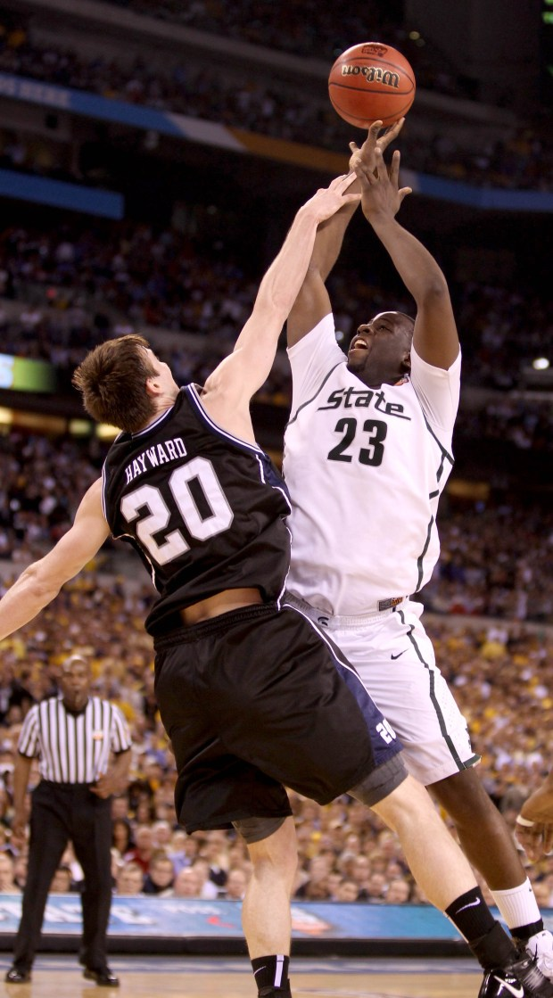 Michigan State's Draymond Green missed on this shot when he appeared to be fouled by Butler player Gordon Hayward, then Green committed his 5th foul on the ensuing struggle for the rebound late in their 52-50 loss to Butler in the NCAA Final Four semi finals in Indianapolis, IN on Saturday, April 03, 2010. JULIAN H. GONZALEZ/Detroit Free Press