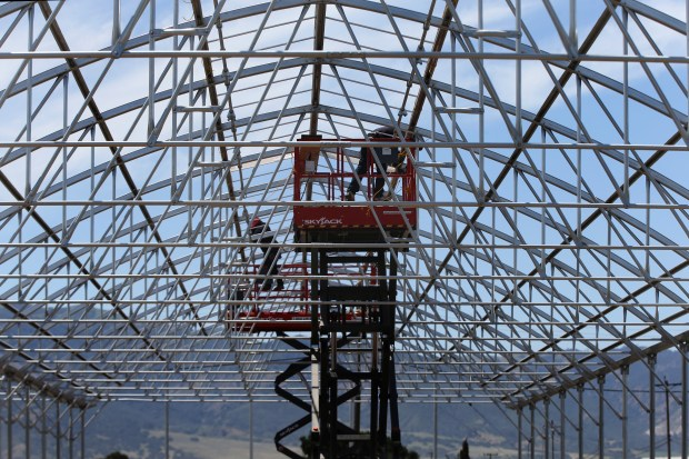 One of the state of the art farm structures under construction in the valley of Salinas, Calif., on Friday, May 5, 2017. Mike Hackett, owner of Riverview Farms and Monterey Cannabis Co., bought greenhouses and is now converting them for cannabis use. (Ray Chavez/Bay Area News Group)