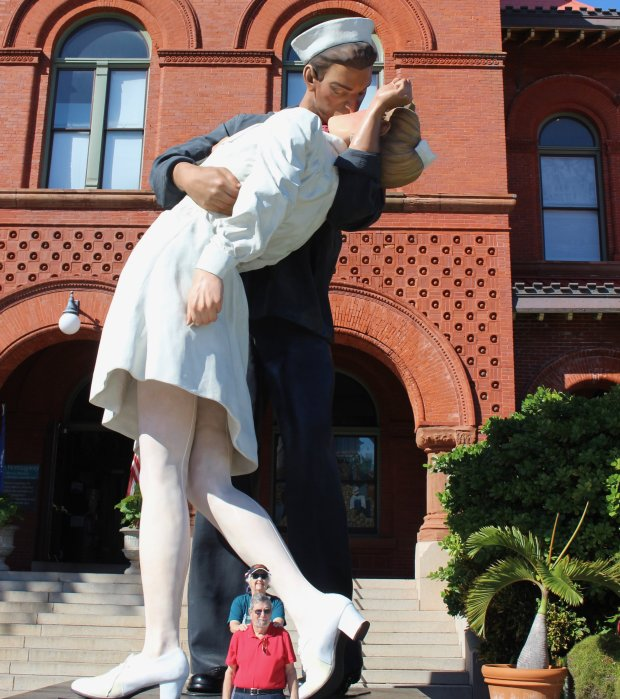 "FLORIDA: San Jose residents Eileen and Ron Wolk stopped to pose by asculpture called ""Unconditional Surrender"" during a recent trip to Key West. (Wolf Family photo)"