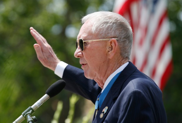 Major General James E. Livingston, USMC (Ret.), gives the keynote address during a Memorial Day ceremony honoring veterans at Oak Hill Cemetery on Monday, May 29, 2017, in San Jose, Calif. (Jim Gensheimer/Bay Area News Group)