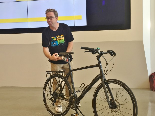 Colin Heyne of the Silicon Valley Bicycle Coalition gives a bike safety talk to Adobe employees at the company's San Jose headquarters on Monday, May 8, 2017, in advance of Bike to Work Day on May 11.