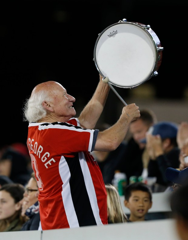 Krazy George revs up the crowd with his drum as the San Jose Earthquakes play the Portland Timbers in the second half at Avaya Stadium, Saturday, May 6, 2017, in San Jose, Calif. (Jim Gensheimer/Bay Area News Group)