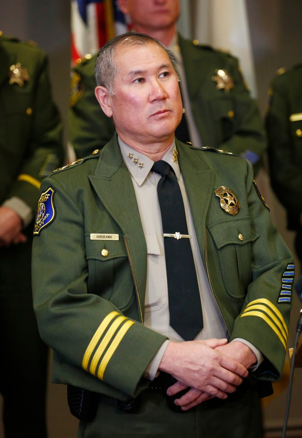 Undersheriff John Hirokawa, of the Santa Clara Sheriff's Department helps announce new reforms at the Main Jail during a press conference at the Santa Clara County Sheriff's Office in San Jose, Calif., on Wednesday, Dec. 2, 2015. The changes were announced after the agency found that 43 percent of the use-of-force complaints at the Main Jail were made by correctional deputies and officers working the D-Shift. (Gary Reyes/ Bay Area News Group)