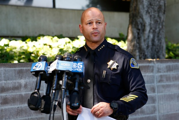 Eddie Garcia, San Jose Police Department police chief, speaks to the media about the officer involved shooting in San Jose, Calif., on Wednesday, May 3, 2017. A suspect was shot and killed after attacking an officer during a family dispute call on the 1500 block of Mt. Frazier Drive in San Jose. (Gary Reyes/ Bay Area News Group)