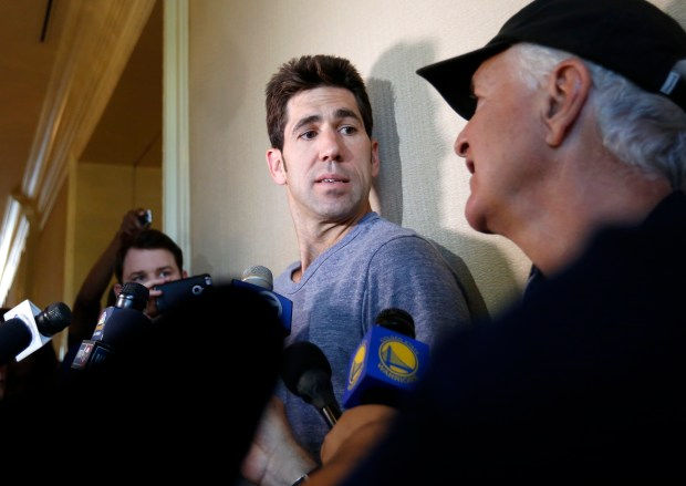 Golden State Warriors general manager Bob Myers speaks to the media at the Grand American Hotel in Salt Lake City, Utah, on Sunday, May 7, 2017. (Nhat V. Meyer/Bay Area News Group)
