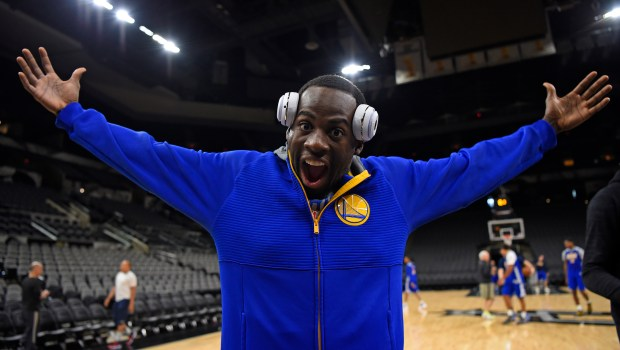 Golden State Warriors' Draymond Green (23) gestures as he walks off the court during a practice session before Game 4 of the NBA Western Conference Finals at AT&T Center in San Antonio, Texas, on Sunday, May 21, 2017. (Jose Carlos Fajardo/Bay Area News Group)