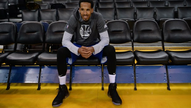 The Golden State Warriors' Shaun Livingston (34) takes a break during a workout at media day for the NBA Finals at Oracle Arena in Oakland, Calif., on Wednesday, May 31, 2017. The NBA Finals between the Golden State Warriors and the Cleveland Cavaliers begins tomorrow. (Dan Honda/Bay Area News Group)