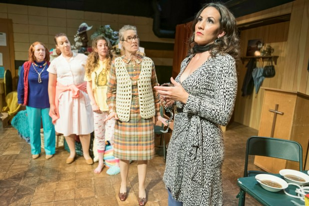 """""""The Charitable Sisterhood of the Second Trinity Victory Church"""" at Dragon Theatre in Redwood City through June 4, 2017, features, from left, Stephanie Crowley, Jennifer Tipton, Caley Suliak, Lisa Burton, and Ambera De Lash. (Lance Huntley / Dragon Theatre)"""