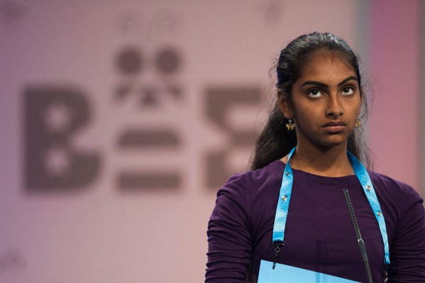 Shrinidhi Gopal of San Ramon, Calif., at the 90th Scripps National Spelling Bee in Oxon Hill, Md (AP Photo/Cliff Owen)
