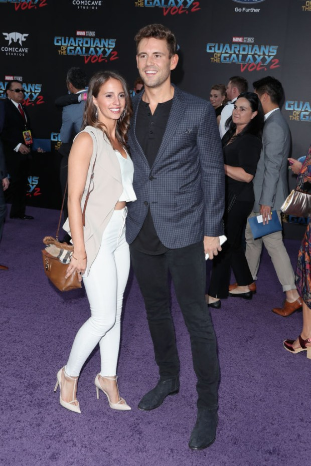 "HOLLYWOOD, CA - APRIL 19: TV personalities Vanessa Grimaldi (L) and Nick Viall at the premiere of Disney and Marvel's ""Guardians Of The Galaxy Vol. 2"" at Dolby Theatre on April 19, 2017 in Hollywood, California. (Photo by Frederick M. Brown/Getty Images)"