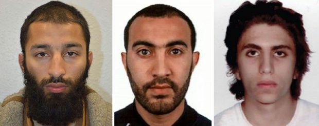 Khuram Shazad Butt, Rachid Redouane and Youssef Zaghba have been named as the suspects in Saturday's attack at London Bridge. (Metropolitan Police via AP)