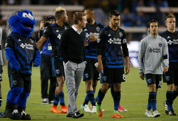 San Jose Quakes head coach Chris Leitch, talks with San Jose Earthquakes forward Chris Wondolowski (8) as team celebrates win at center field against the Seattle Sounders FC in the second half during the U.S. Open Cup Round of 16th at Avaya Stadium, California., on Wednesday, June 28, 2017. California on Wednesday, June 25, 2017. (Josie Lepe/Bay Area News Group)
