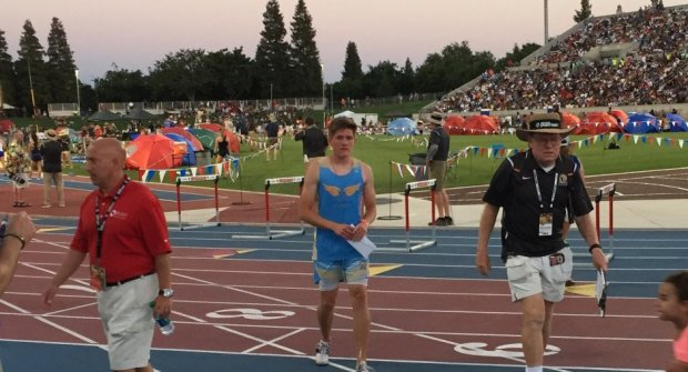 Heritage High's Jett Charvet walks off the track afterwinning the 800 meters at the CIF state meet in Clovis. His time of 1:51.07 was almost a full second faster than runner-up Alex Scales of Bellarmine Prep-San Jose. Because of Charvet's win in the 800, the Heritage boys finished tied for 14th place in the state.