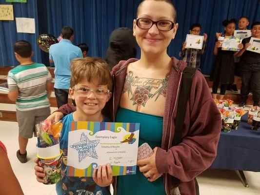 Timothy O'Rourke, 9, pictured with his step-mother, Megan, O'Rourke. Timothy attempted to commit suicide last weekend, according to his parents, after Grand Terrace Elementary and Colton Joint Unified school officials ignored repeated complaints about bullying at the school. (Courtesy photo)